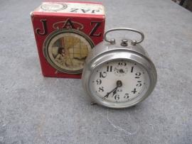 Zilverkleurige wekker met originele doos