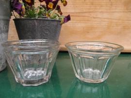Antieke glazen brede jampotten (set van 2)