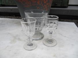 Antieke Franse glaasjes set van 3