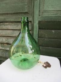 Brocante groene glazen bolle gistfles van 5 liter