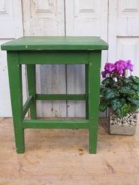 Brocante houten krukje groen