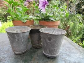 Zinken bloempotjes set van 3 stuks