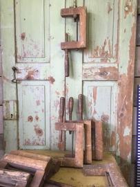 Antieke houten (lijm) klem