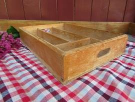Brocante Frans bestekbakje van hout