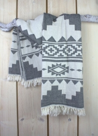 Hamamdoek World Culture 160 x 95 cm Black / White