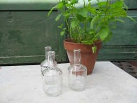Kleine glazen flesjes set van 3 stuks