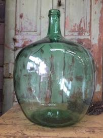 Grote glazen fles groen 50 liter