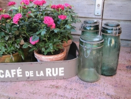 Oude Franse beugel inmaak potten groen La Lorainne