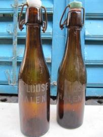 Antieke bruine Belgische bierflesen van Brouwerij Loose in Halen