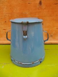 Hele oude emaille blauwe vetpot 8 liter