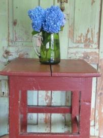 Leuk brocante houten tafeltje/kruk