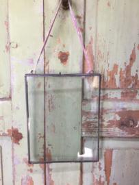 Dubbel glazen lijst, zink kleur