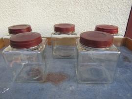 Oude Franse (snoep) potten, set van 5