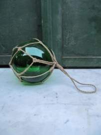 Brocante mondgeblazen glazen drijver groen