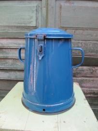 Emaille blauwe bewaarpot van 10 liter