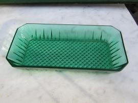 Brocante groen glazen serveerschaaltje
