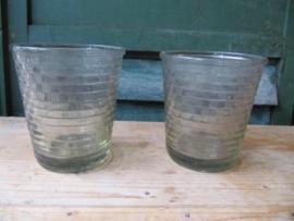 Oude Franse glazen jampot geribbeld / geruit