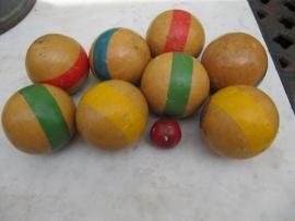 Brocante houten petanque spel.