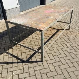 Oude brocante ateliertafel demontabel