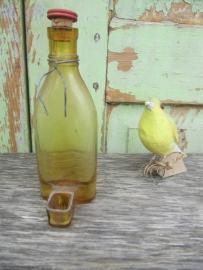 Frans brocante glazen drinkflesje voor vogelkooi