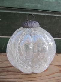 Oude glazen bol,pompoenmodel