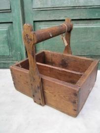 Oude Franse houten timmermansbak voor spijkers