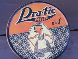 Brocante blik voor een Pra-tic mop