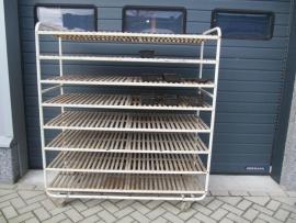 Industriële oude (bakkers) trolley met 8 etages