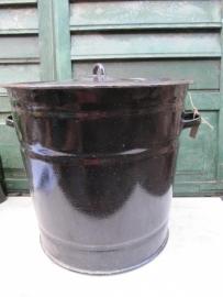 Big brown enamel kettle with lid.