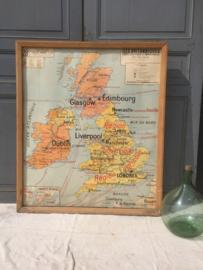 Oude landkaart UK met houten lijst