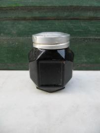 Heel oud zwart glazen potje voor crême