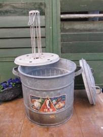 Oude brocante zinken weckketel compleet