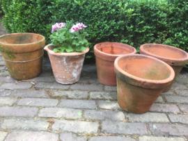 Grote antieke terracotta potten, set van 5