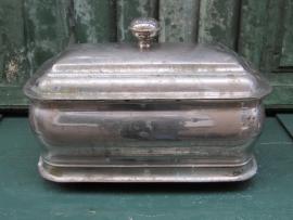 Brocante oude Au bain marie pan verzilverd