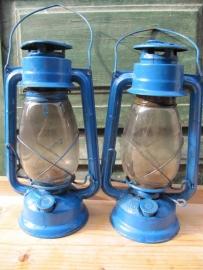 Brocante olie lantaarn blauw