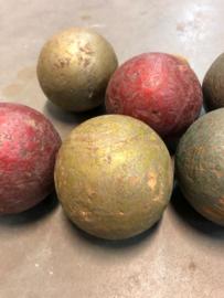 Set van 6 stuks oude petanque ballen