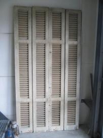 Antieke set van 4 louvre deuren wit/lichtgroen