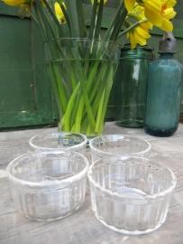 Brocante glazen dessertschaaltjes van Arcopal setje van 4