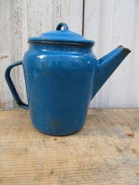 Brocante emaille blauwe koffiepot