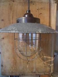 Super gave oude industrieëlle lamp met emaille kap
