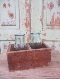 Brocante twee vaks houten kistje