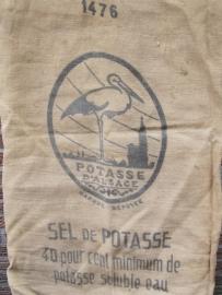Jute zak met opschrift Sel de Potasse