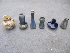 Mooie Franse Brocante aardewerk potjes 6 stuks