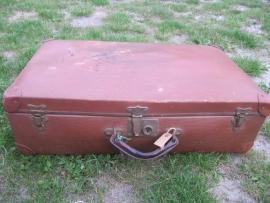 Brocante Franse koffer met koperen beslag