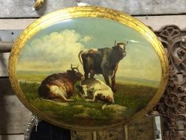 Oud houten schilderij medaillon style Koeien