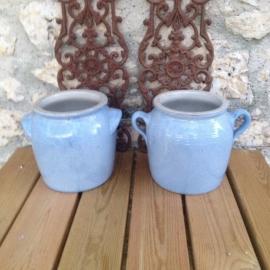 Antieke zeldzame Franse blauwe grespotten set van 2