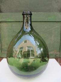 Brocante bolle groene gistfles van 5 liter
