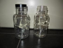 Set van 2 glazen voorraadpotten