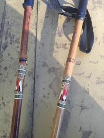 Brocante houten skistokken