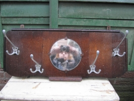 Vintage houten kapstok met spiegel en 4 haken.